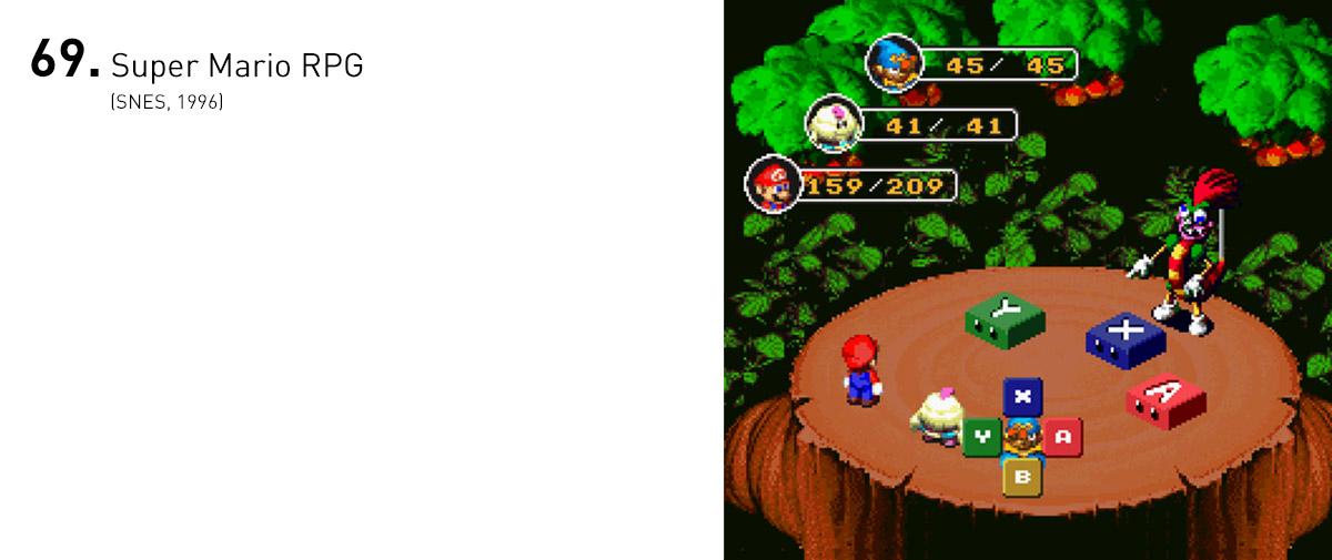 Resultado da inusitada parceria entre a Nintendo e a Square, Super Mario RPG deu um novo vigor ao gênero com batalhas repletas de minigames divertidos, cenários cheios de segredos e quebra-cabeças e um senso de humor peculiar.