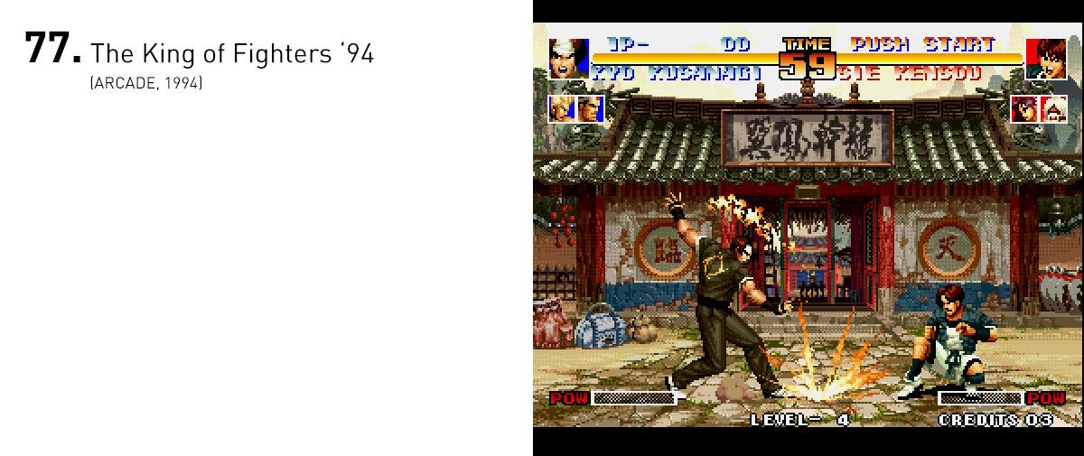Trazendo um grau de detalhamento absurdo para a época em seus cenários e animações, The King of Fighters '94 surpreendeu com sua enorme diversidade de lutadores, dos mais diversos estilos.