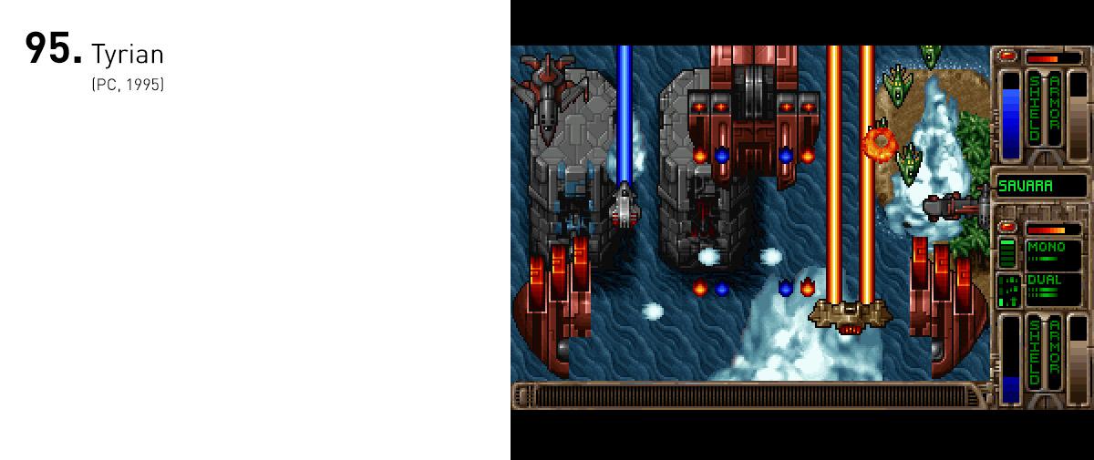 Rivalizando os shooters orientais, Tyrian adicionou profundidade a um gênero visto como simplório, permitindo o jogador a desenvolver sua nave e escolher a rota de sua jornada.