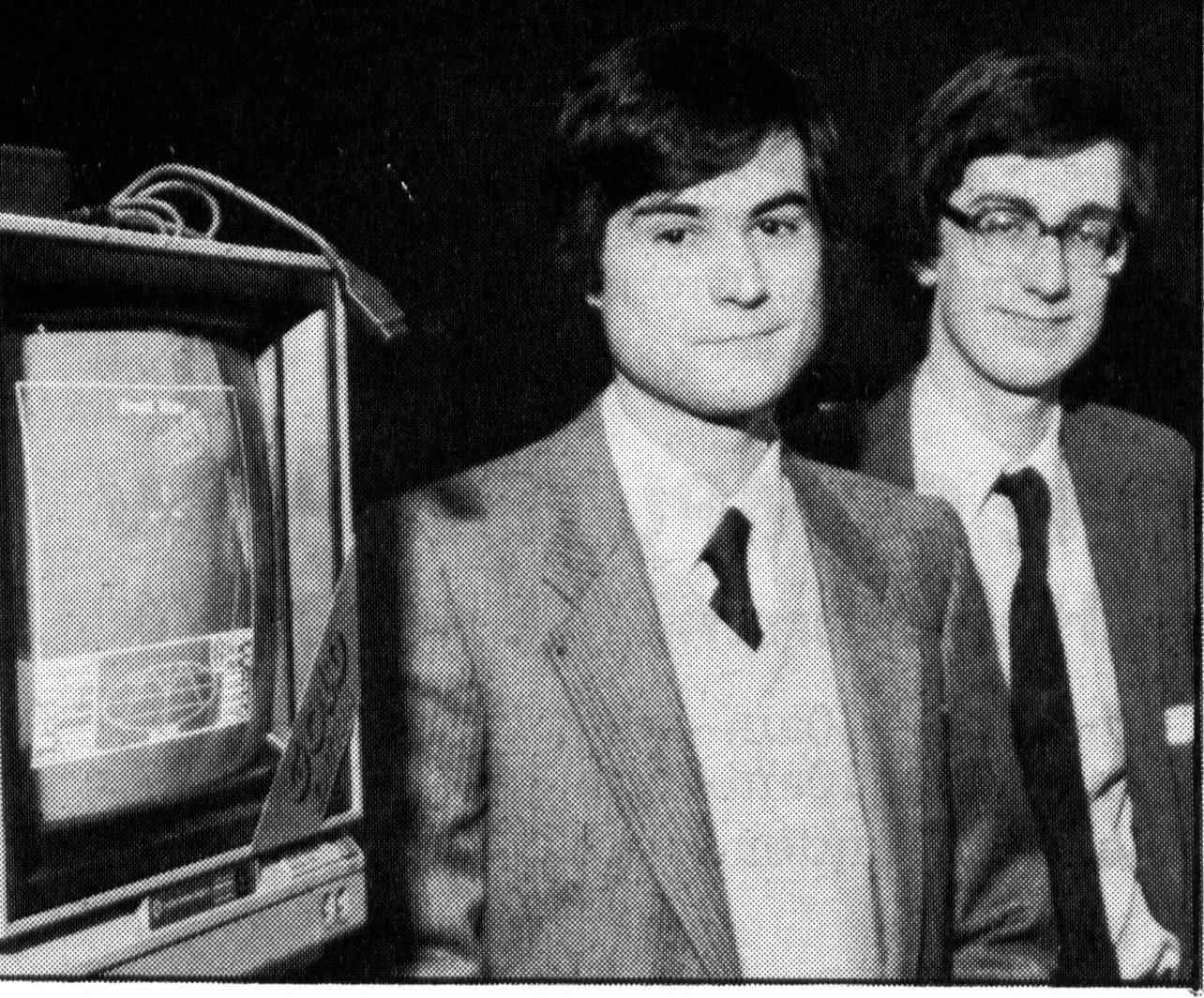 David Braben e Ian Bell, criadores de Elite, em foto de 1984