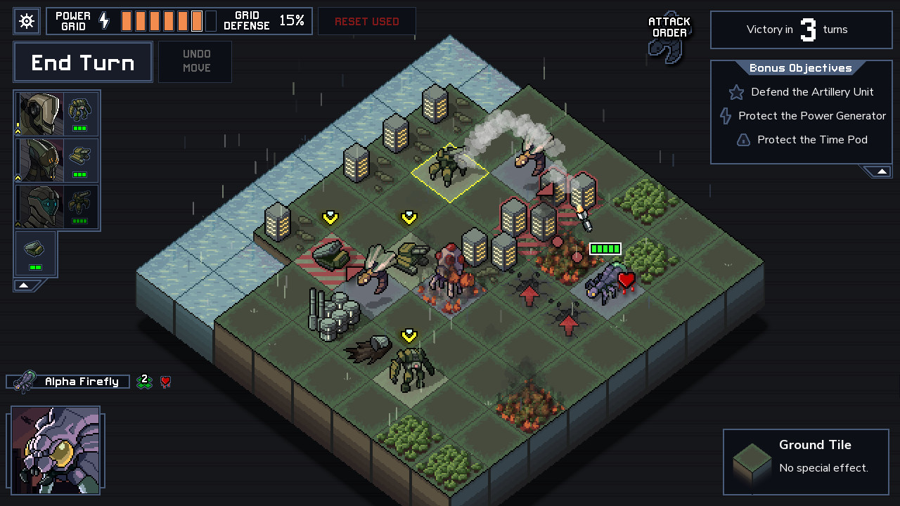 As lutas de Into the Breach acontecem em mapas como este