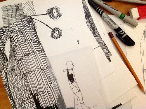 Desenho de Luiz Rodolfo Annes para a produção de The Guilt and the Shadow