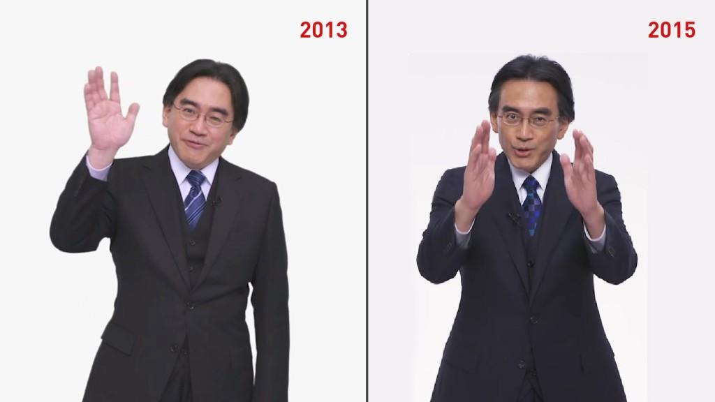 Satoru Iwata em vídeos do Nintendo Direct; em aparição mais recente, ele estava visivelmente mais abatido.