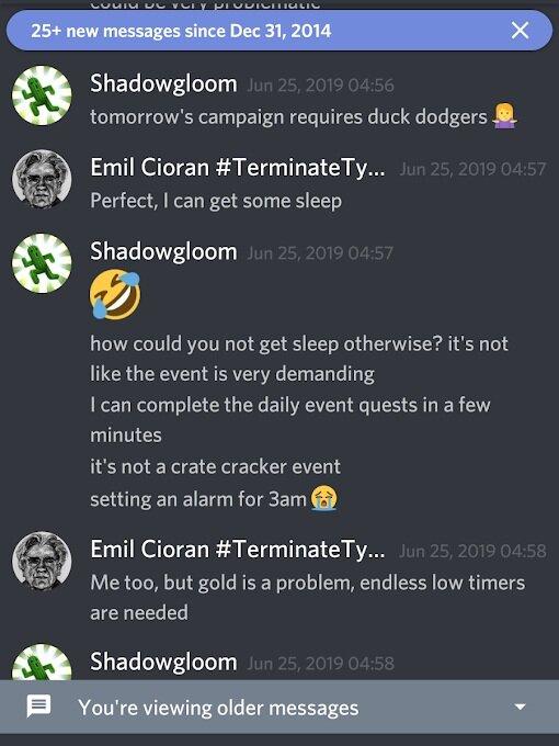 """""""Não é como se fosse um evento crate cracker, colocando um alarme para as 3 da manhã"""", lamenta um jogador sobre um dos tipos de eventos do jogo para o qual usou alarmes."""