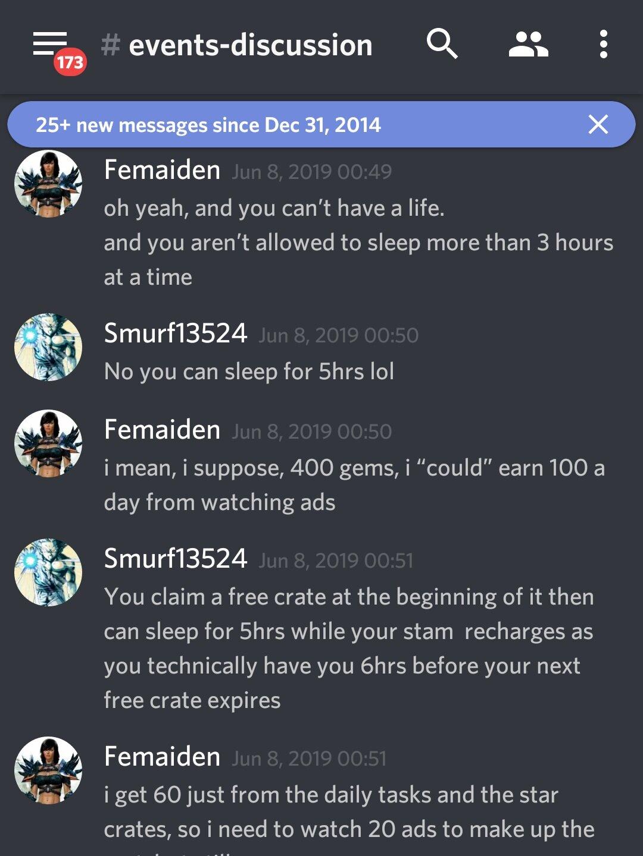 """Femaiden: """"Ah é, e você não pode ter uma vida. E não é permitido você dormir mais do que 3 horas por vez.""""  Smurf13524: """"Não, você pode dormir 5 horas lol"""""""
