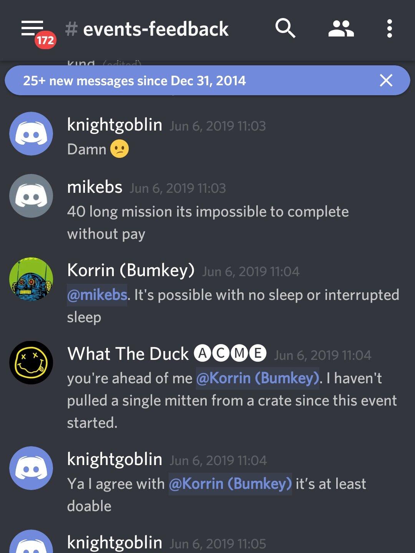 """mikebs: """"40 missões longas são impossíveis de completar sem pagar""""  Korrin: """"É possível sem dormir ou com sono interrompido"""""""