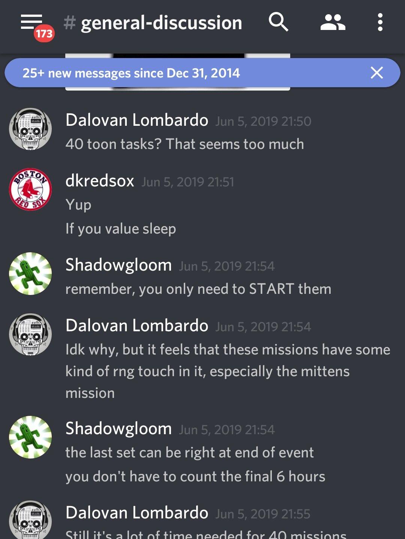 """Dalovan Lombardo: """"40 tarefas de toon? Parece demais.""""  dkredsox: """"Sim. Se você valoriza dormir"""""""