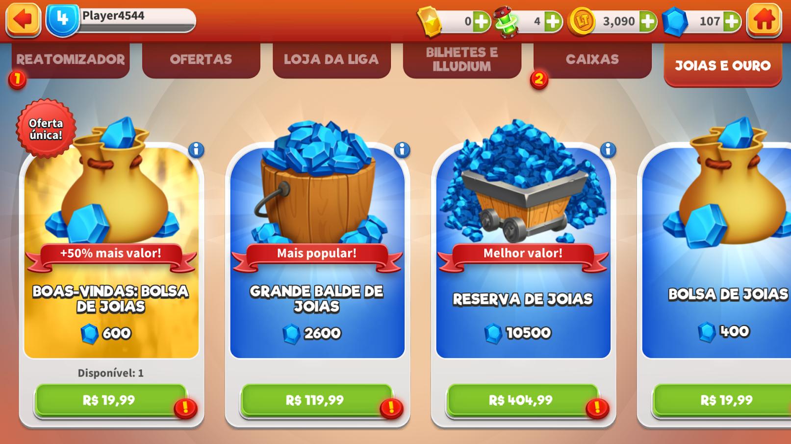 O preço das gemas vai de R$ 19,99 até R$ 404,99.
