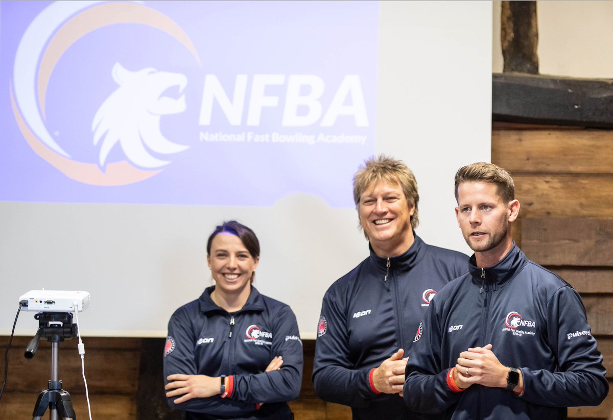 Main coaches: Cath Dalton (left), Ian Pont (centre) & Luke Humphrey (right) at the Home of The National Fast Bowling Academy, which is the Herts & Essex Cricket Centre, Sawbridgeworth, Hertfordshire.