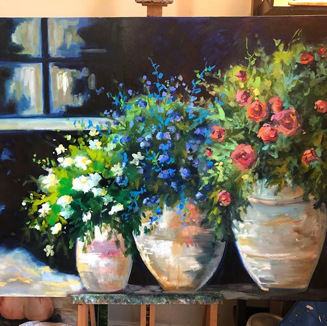 36x48 I have mixed emotions when a new painting sells quickly. At least I get to keep it around while it dries! #flowers #stilllife#potsofflowers#originalart#painting#impressionism #flowerpainting#lorieubanksart#color