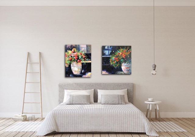 These 2 paintings would add a lot of color to a room.  #color#flowerpainting#contrast#oil#interiordesign#wallart#artoftheday#design#artwork #original#lorieubanksart
