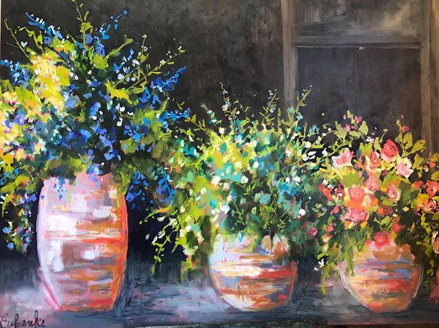 "36x48 ""Last bit of Summer""  Fall and winter will be here before we know it. (I guess fall is already here, at least according to the calendar!) I wanted to paint these pots of flowers in all their beauty before it got too cold. This painting went thru a lot of transformations. I changed colors, and the background among other things. I think I finally have it where I want it. #flowers #pots of flowers#28februaryflowers#oil#originalart#artforyourwalls#interiordesign#design#impressionism#hgtv#lorieubanksart.com#artoftheday#artistsofinstagram#paintings#artforyourhome"