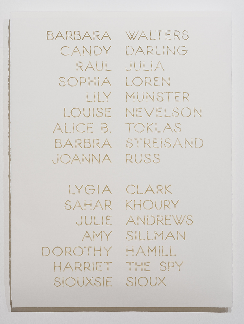 Cast List: Barbara Walters , 2015, laser-cut BFK Rives paper, 28 x 22""