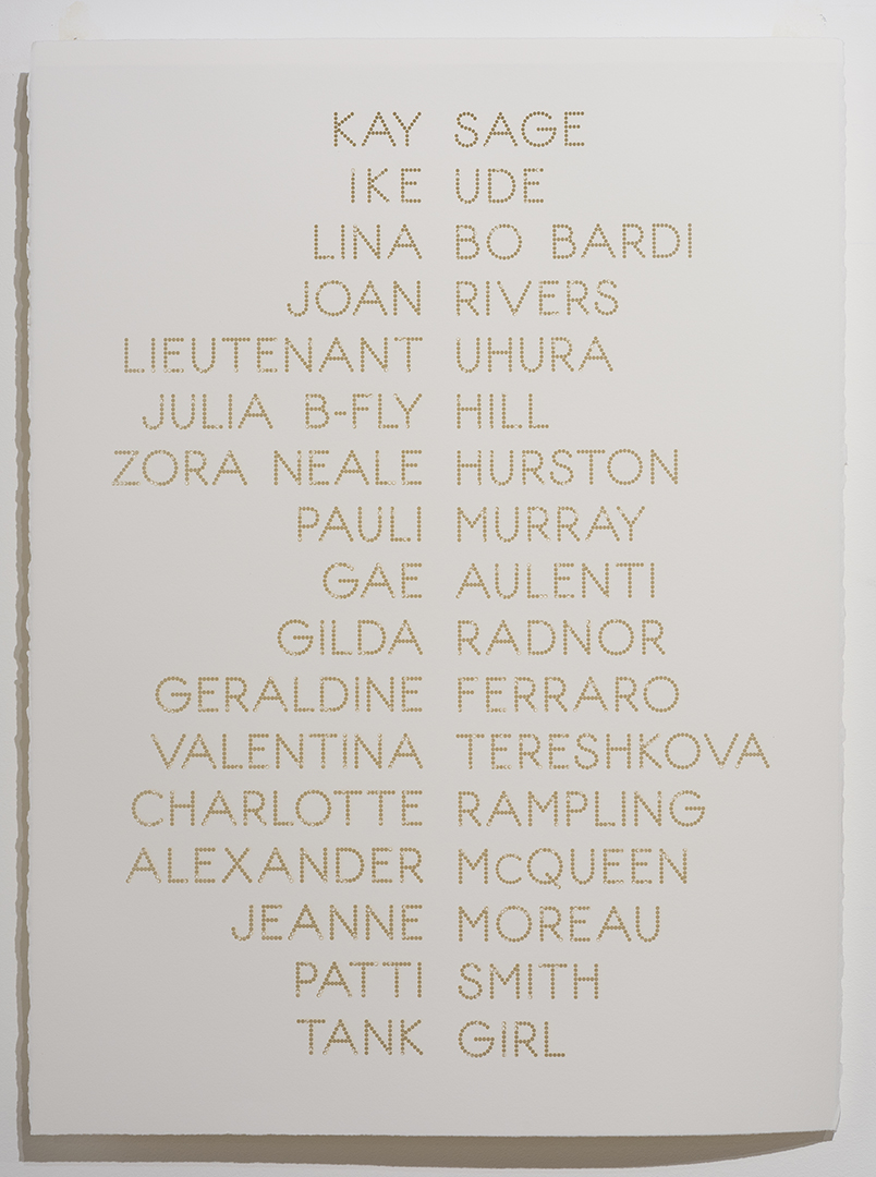 Cast List: Kay Sage , 2015, laser-cut BFK Rives paper, 28 x 22""