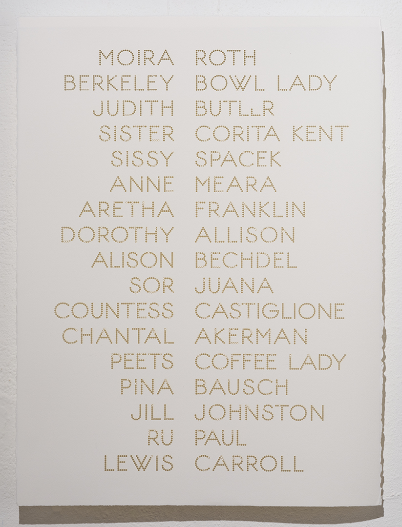 Cast List: Moira Roth, 2012 , laser-cut BFK Rives paper, 28 x 22""