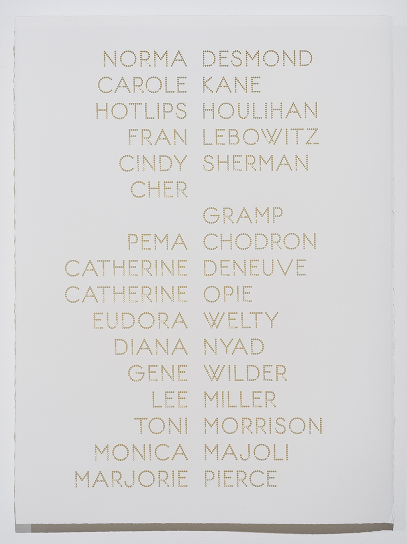 Cast List: Norma Desmond , 2015, laser-cut BFK Rives paper, 28 x 22""