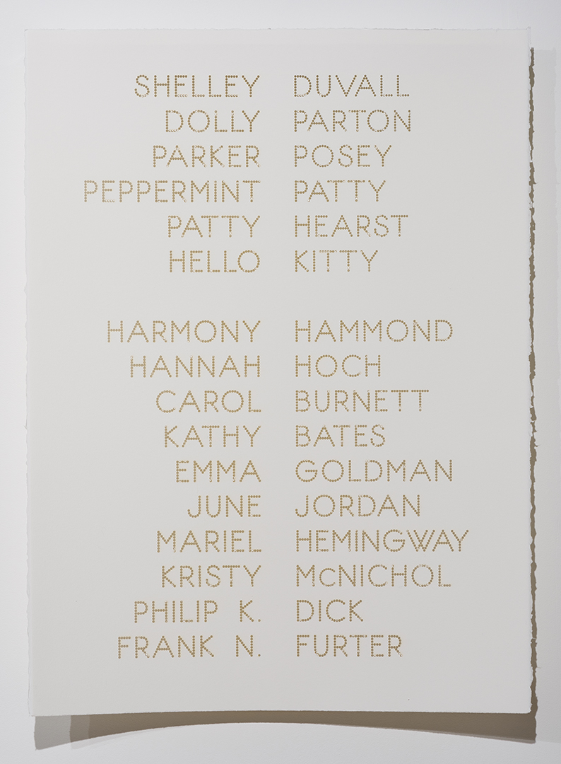 Cast List: Shelley Duvall , 2015, laser-cut BFK Rives paper, 28 x 22""