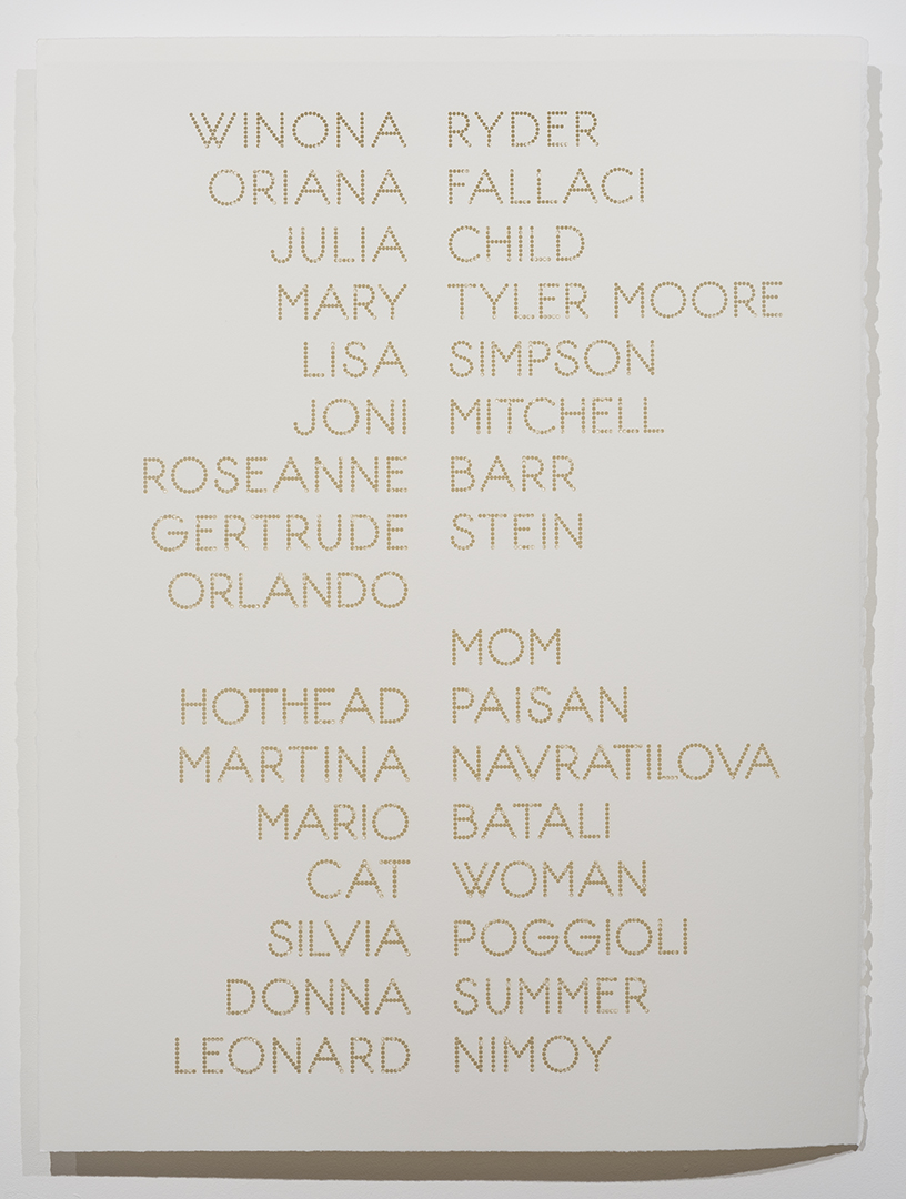 Cast List: Winona Ryder , 2015, laser-cut BFK Rives paper, 28 x 22""