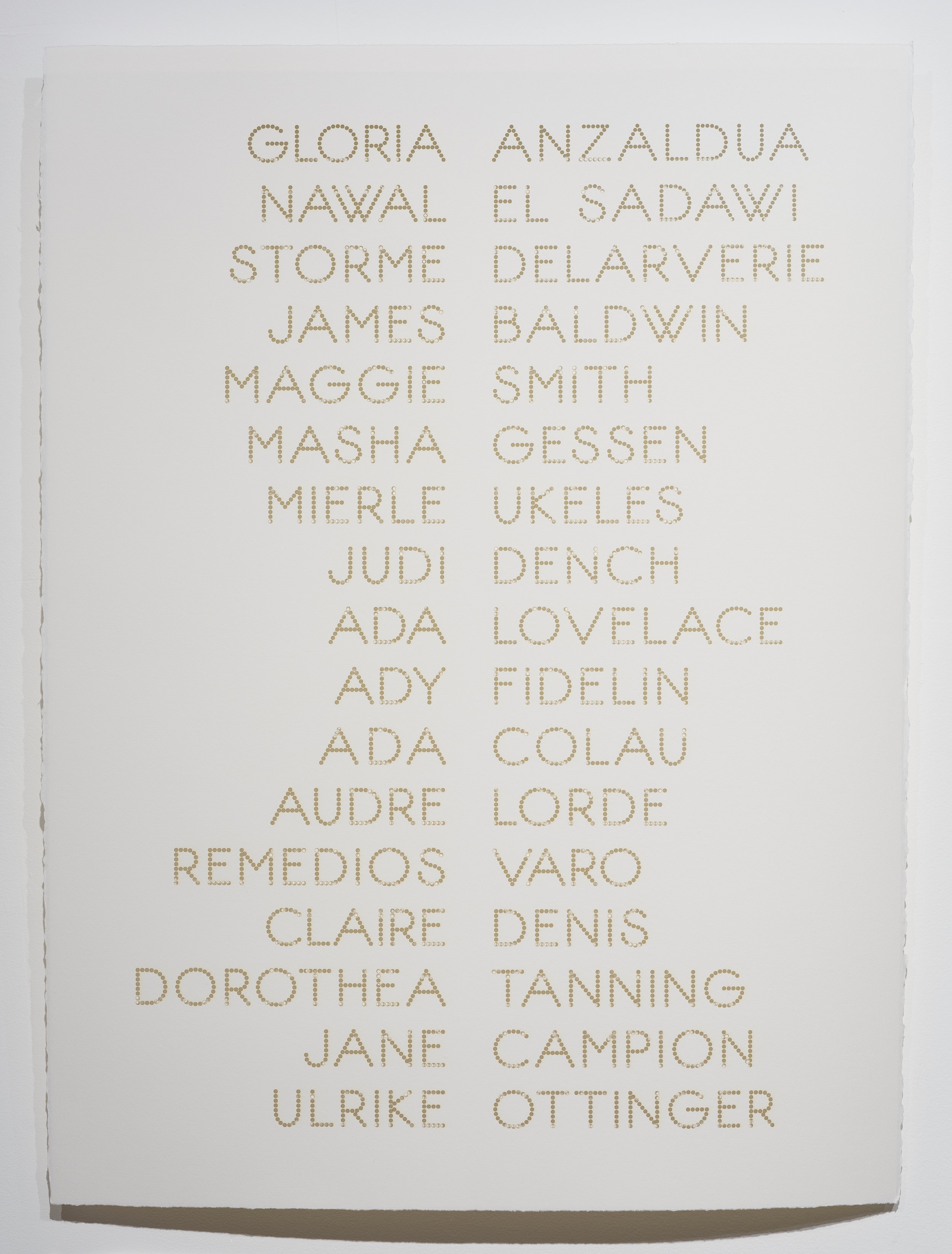 Cast List: Gloria Anzaldua , 2015, laser-cut BFK Rives paper, 28 x 22""