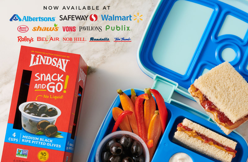 Snack and Go! - Make Back to School a little easier with Lindsay Snack and Go! Olives. Now available nationwide!Find A Store Near You ➝