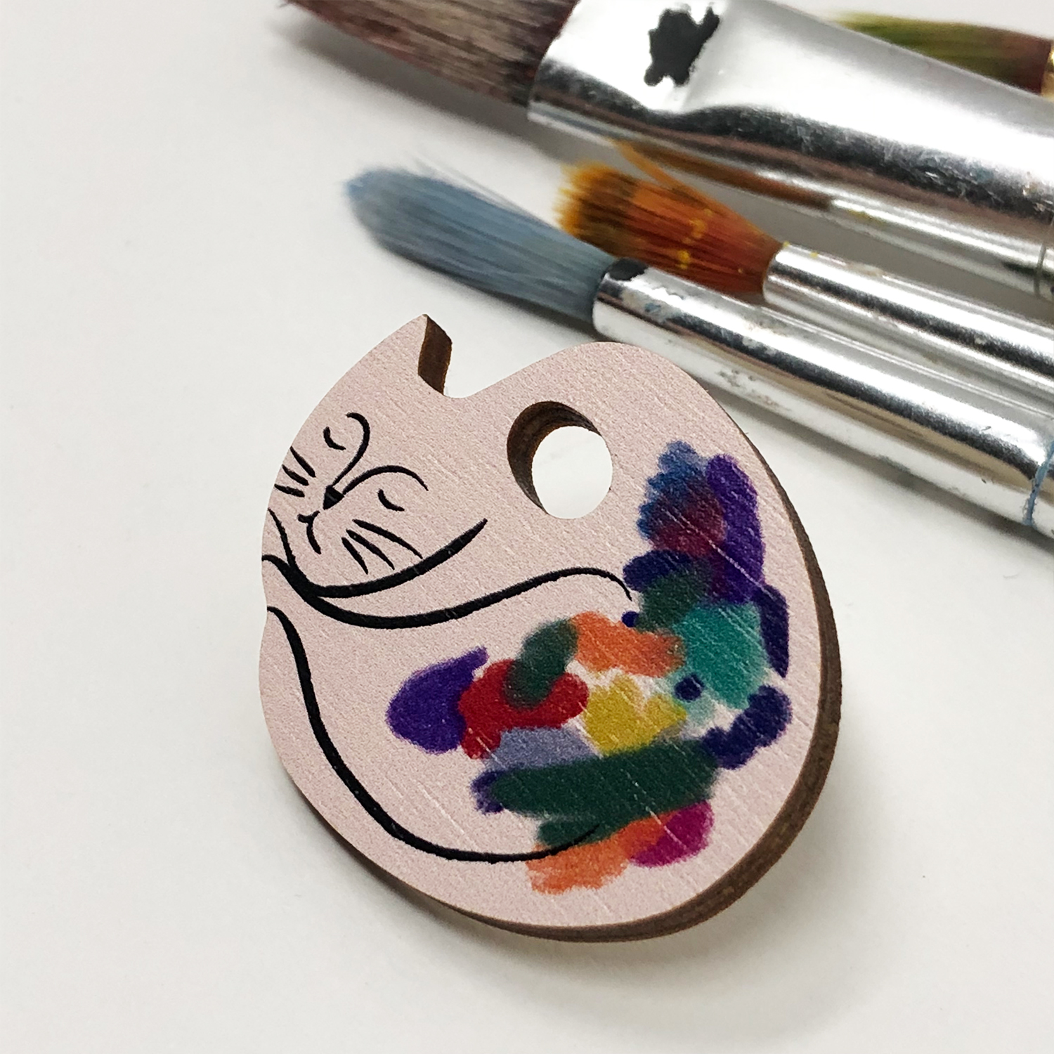 The Cat Artist - Wooden Pin Badge