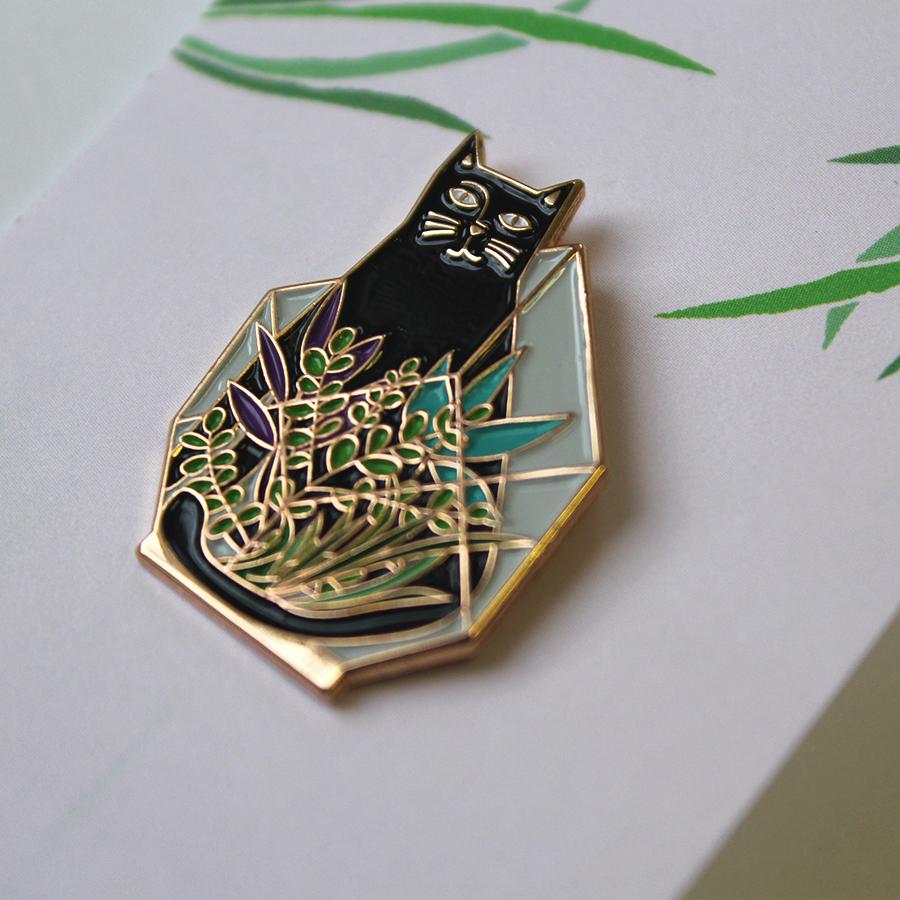 Cat Terrarium - Rose Gold pin