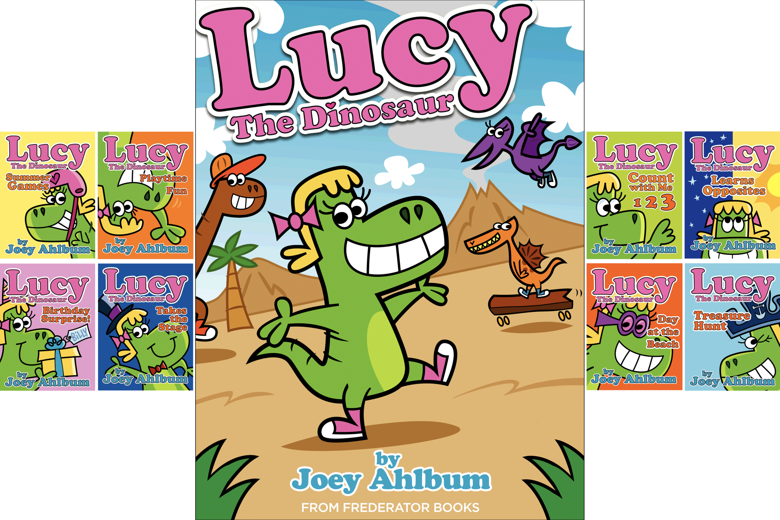 Lucy the Dinosaur  is larger than life and loves adventures. With Lucy in the lead, her loyal crew crawls, skates, and dances their way to learning. Lucy's curiosity holds no bounds--she counts, she hunts for treasure, she even puts on a play!  Veteran animator ( Elmo's World, Clifford's Puppy Days)  and author Joey Ahlbum will charm kids with his friendly and dynamic art. Fans of  Dinosaur vs. Bedtime , Sandra Boynton & Mo Willems will love these cheerful stories.