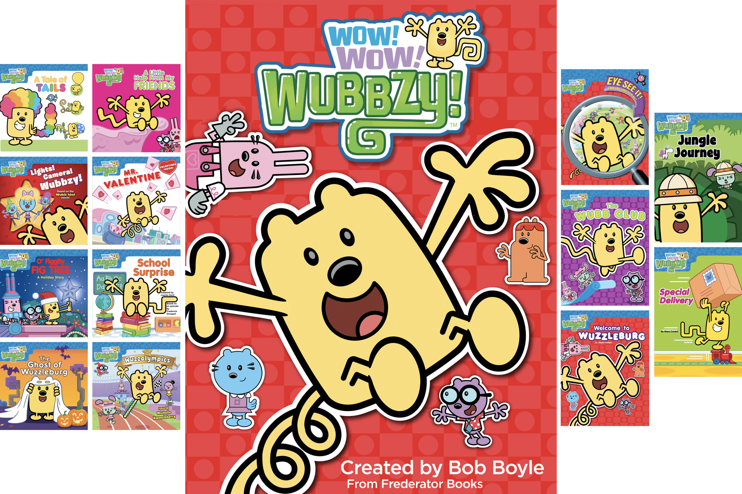 Whether he's riding on his tooter-scooter, baking a chocolate doodly-berry cake, or playing a game of kickity-kickball, Wubbzy just loves to play and have fun! Join him and his friends for some fun, funny adventures.  The  Wow! Wow! Wubbzy!  books are based on  the hit cartoon series  created by author and animator Bob Boyle.