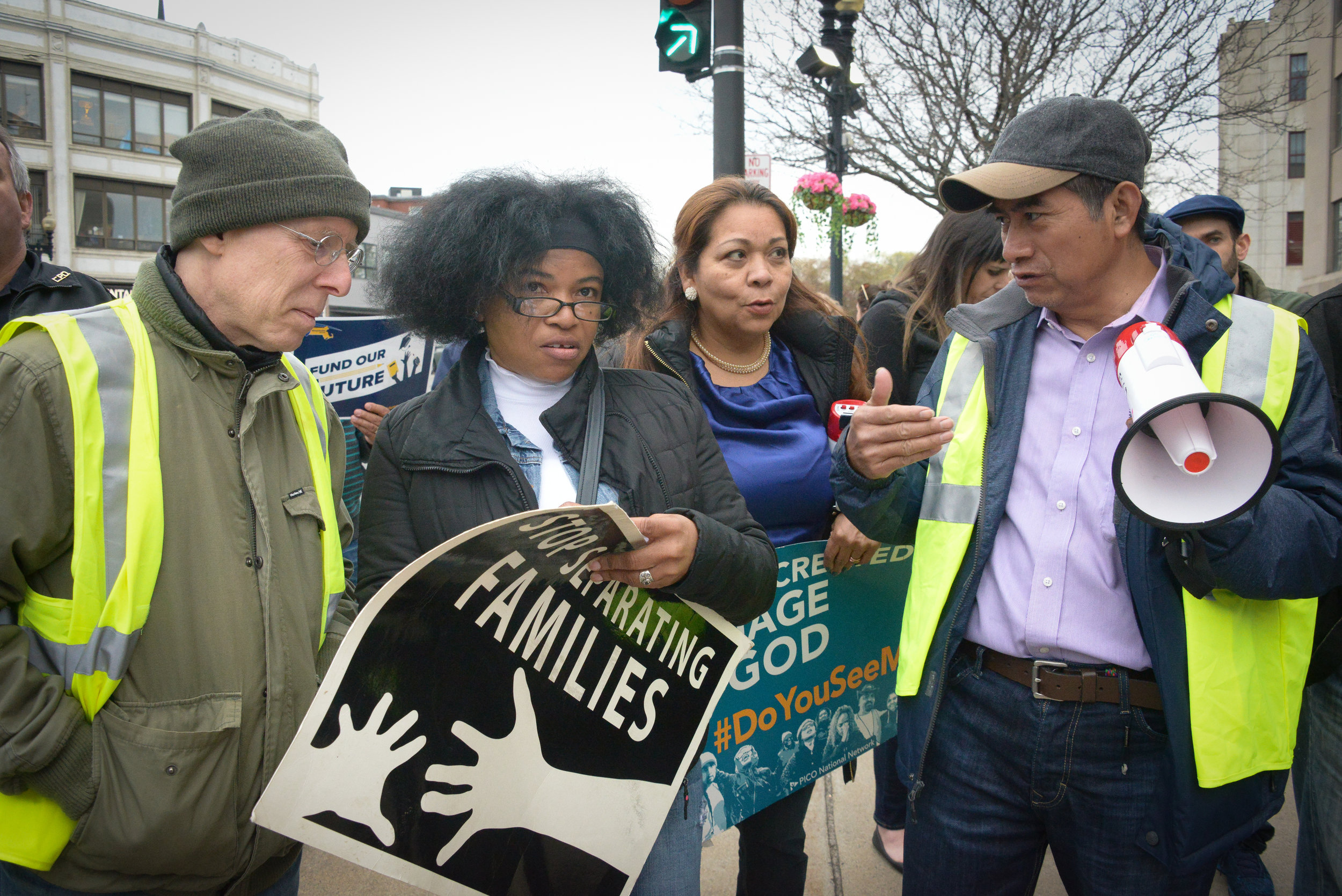 ECCO Leader Blanca Martinez (second from left) with colleagues at May Day Rally & March in Lynn last month.
