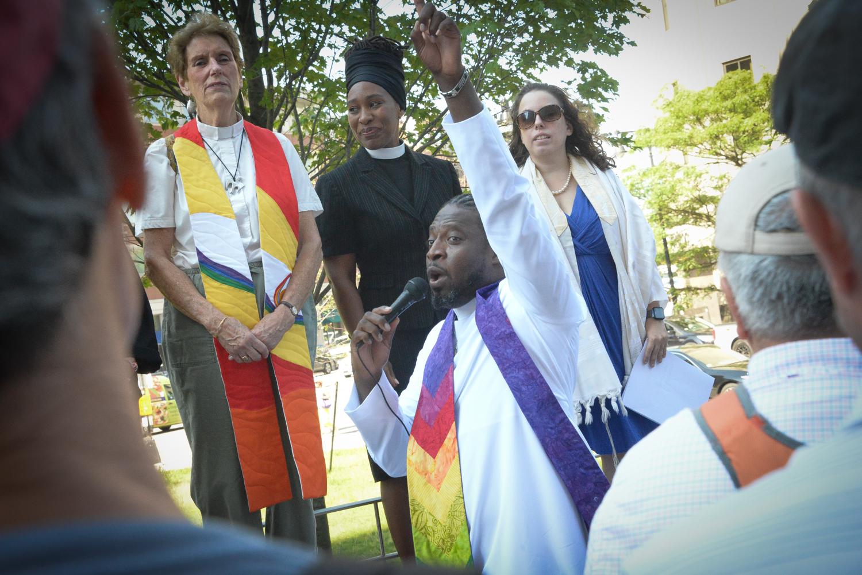 Rev. André Bennett opens Pilgrimage.