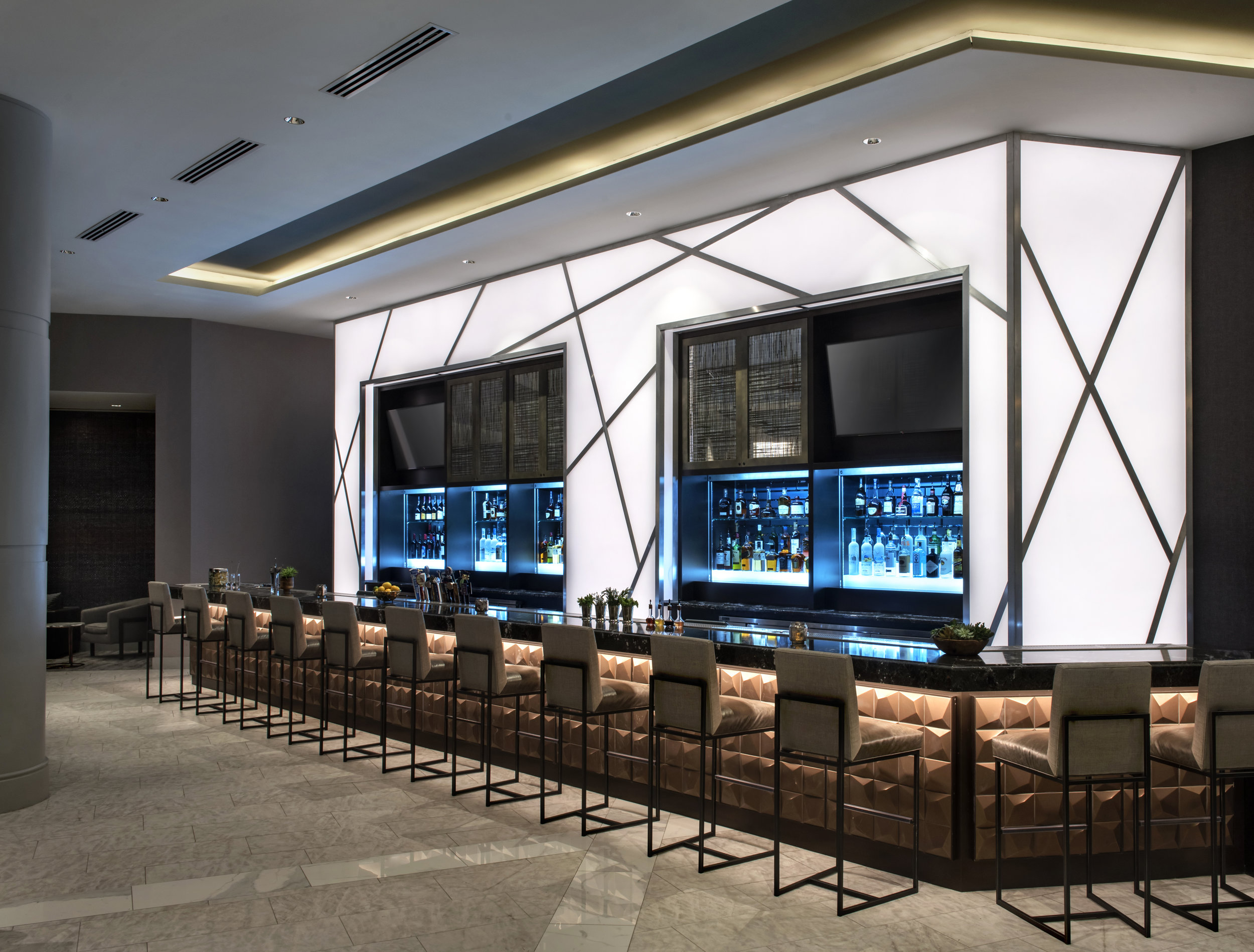 The sleek, new bar near the newly renovated lobby at the Bethesda North Marriott Hotel and Conference Center