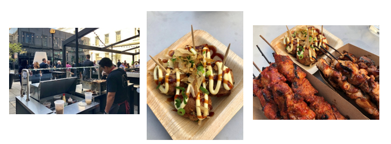 Executive Chef Kyoo Eom and Dirty Habit's culinary team are now firing up    takoyaki    and    yakitori    on the new    patio food cart    in the sleek, outdoor courtyard.