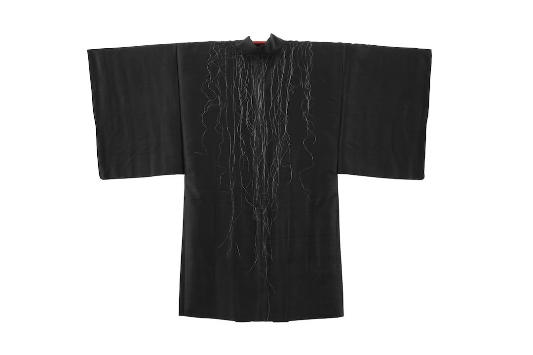 """""""Cargado,"""" 2015, hair, silk kimono, 50"""" x 50"""""""