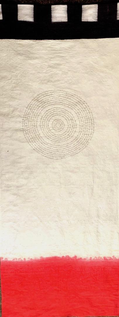 """Banner/1,"" 2014, artist's hair, hand dyed silk, 74""x26"""