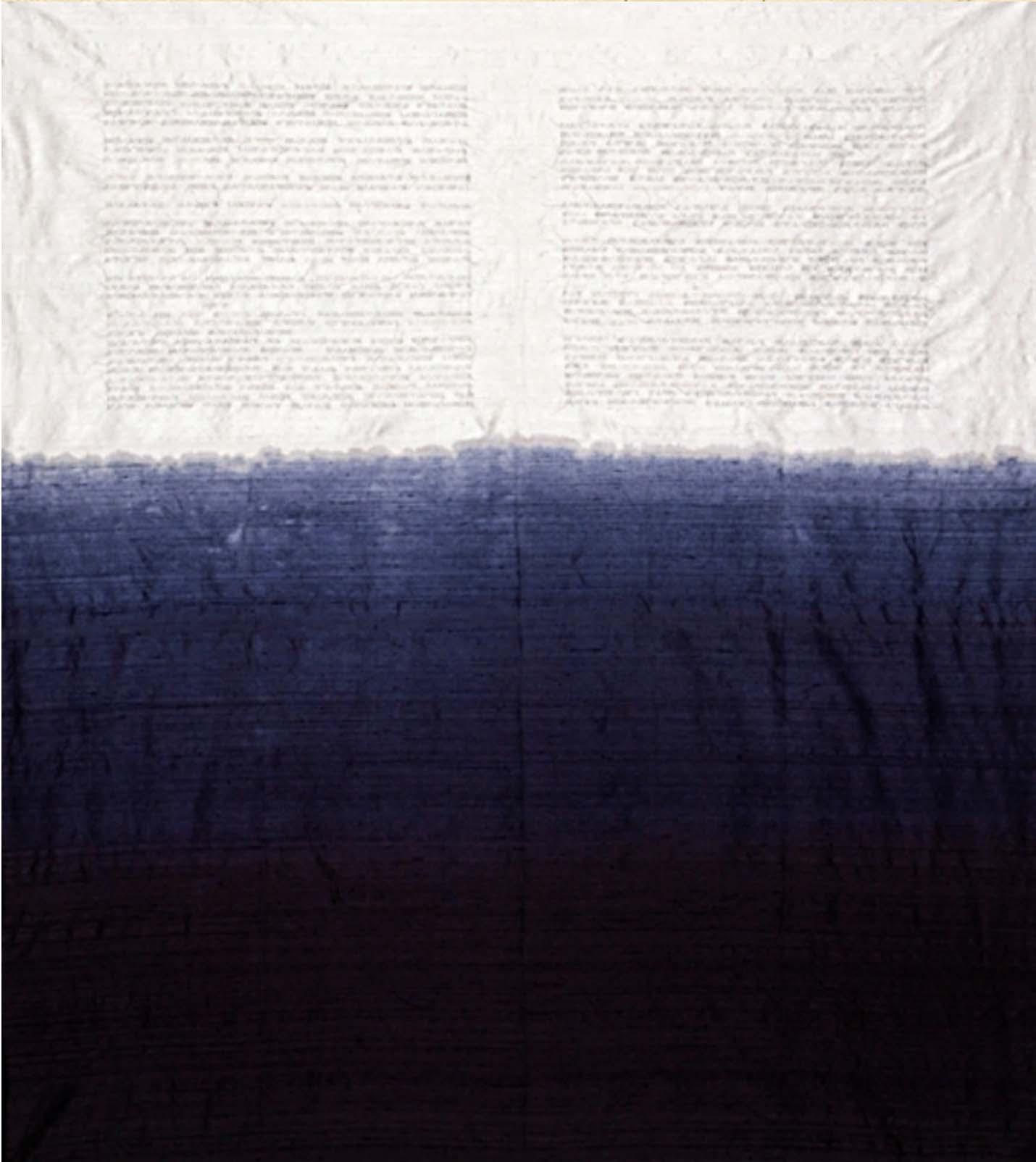 """""""Horizon/Marine,"""" 2009, artists' hair, dye, silk, 50"""" x 44"""""""