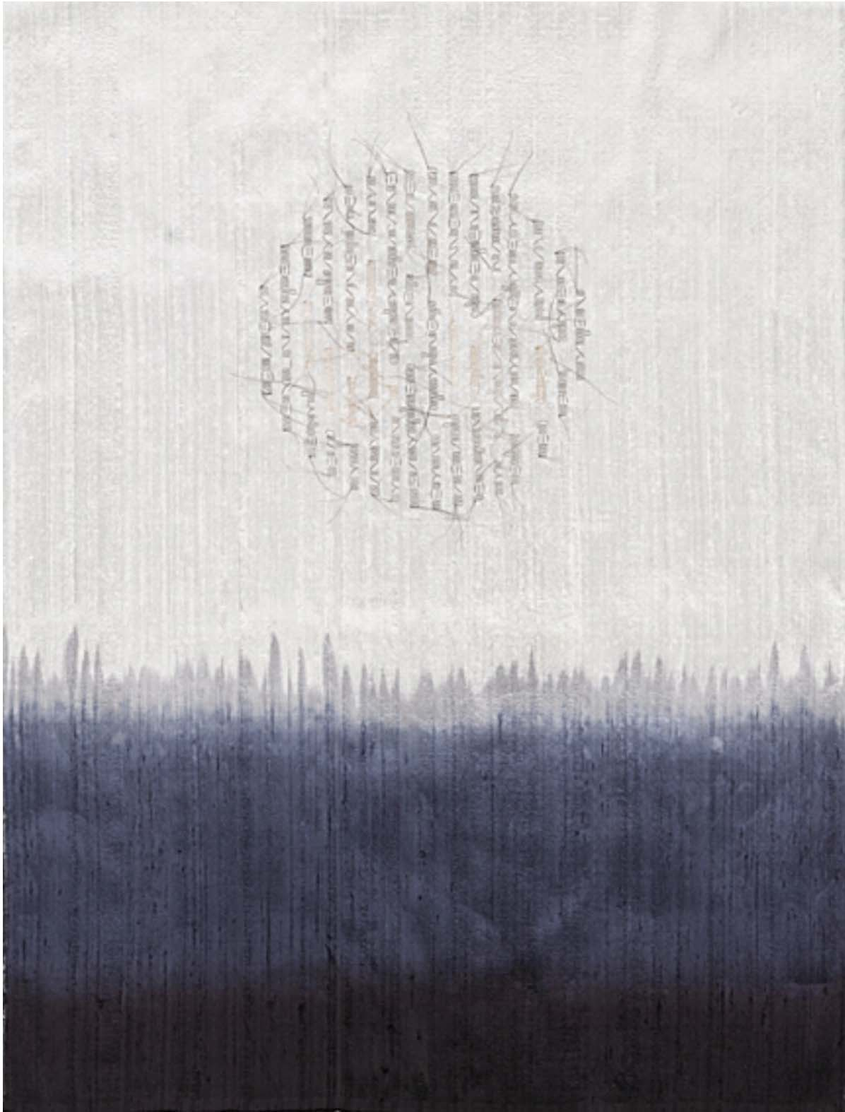 """Horizon/Navy Moon,"" 2009, artists' hair, dye, silk, 22"" x 16"""