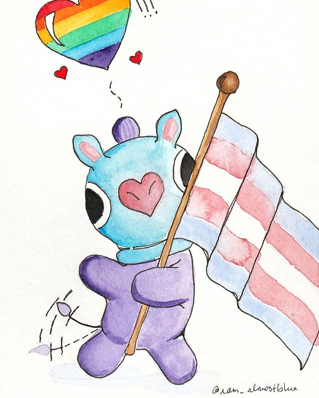 Hey yall! So a couple quick updates!⠀ ⠀ ✨We have a guest creator! This Mang was painted by iam_almostblue over on Twitter in celebration of Pride month. ALSO with each print sold, we'll donate $2 to @lost.n.found.youth which is an org in Atlanta that helps queer homeless youth. LGBTQ+ Pride is something that's important to both me and Blue and we'd love your support so we can in turn support the people who need it! This print will only be available for the month of June in the shop, so get it now!⠀ ⠀ ✨I spruced up our little corner of the internet, so now we have a new website! I spent a lot of time on it, so please go take a look and tell me what you think.⠀ ⠀ Question of the day: Who's your BT21 bias? Mine is Tata! . . . . . . . . . . #octopusandelephant #btsfanart #kpopfanart #bt21fanart #bt21 #bt21mang #lgbtq🌈 #pridemonth #btsart #btsarmy