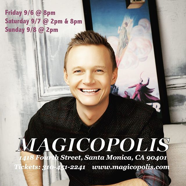 Summer isn't over yet! Join me in Santa Monica this weekend. All ages welcome! 🌊  Friday 9/6 @ 8pm Saturday 9/7 @ 2pm Saturday 9/7 @ 8pm Sunday 9/8 @ 2pm 🌞  Tickets: 310.451.2241 . . #Magicopolis #SantaMonica #MagicShow #joelward
