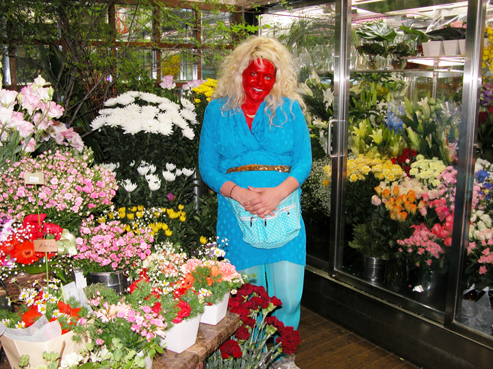 Untitled (Self Portrait, Red and Flowers, Tokyo) 2007