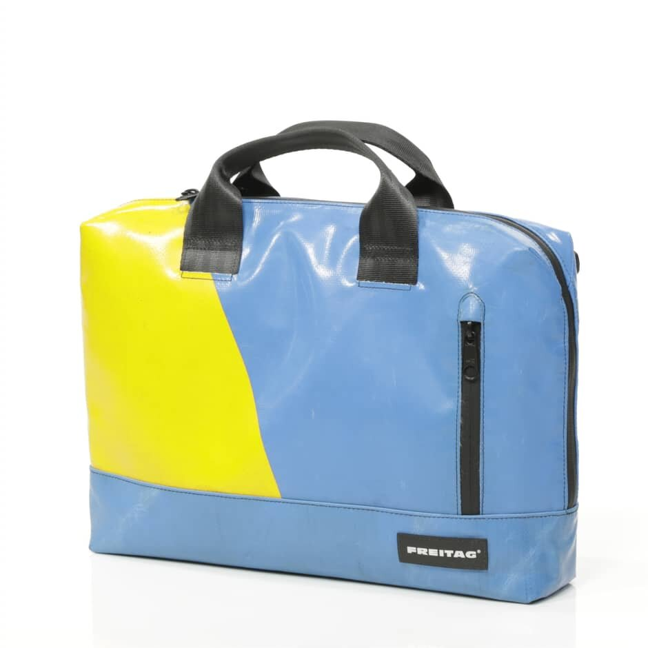 FREITAG   FREITAG is a Swiss brand that makes products out of used truck tarpaulins, discarded bicycle inner tubes and car seat belts.   https://www.freitag.ch/en/shop/bags/laptop-bags