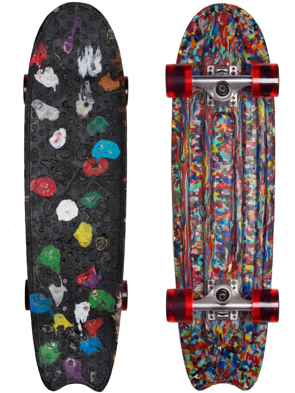 Wasteboards   This skateboard by Wasteboards is produced in Amsterdam made of 100% recycled plastics, and wheels will be in the near future.   https://wasteboards.com/