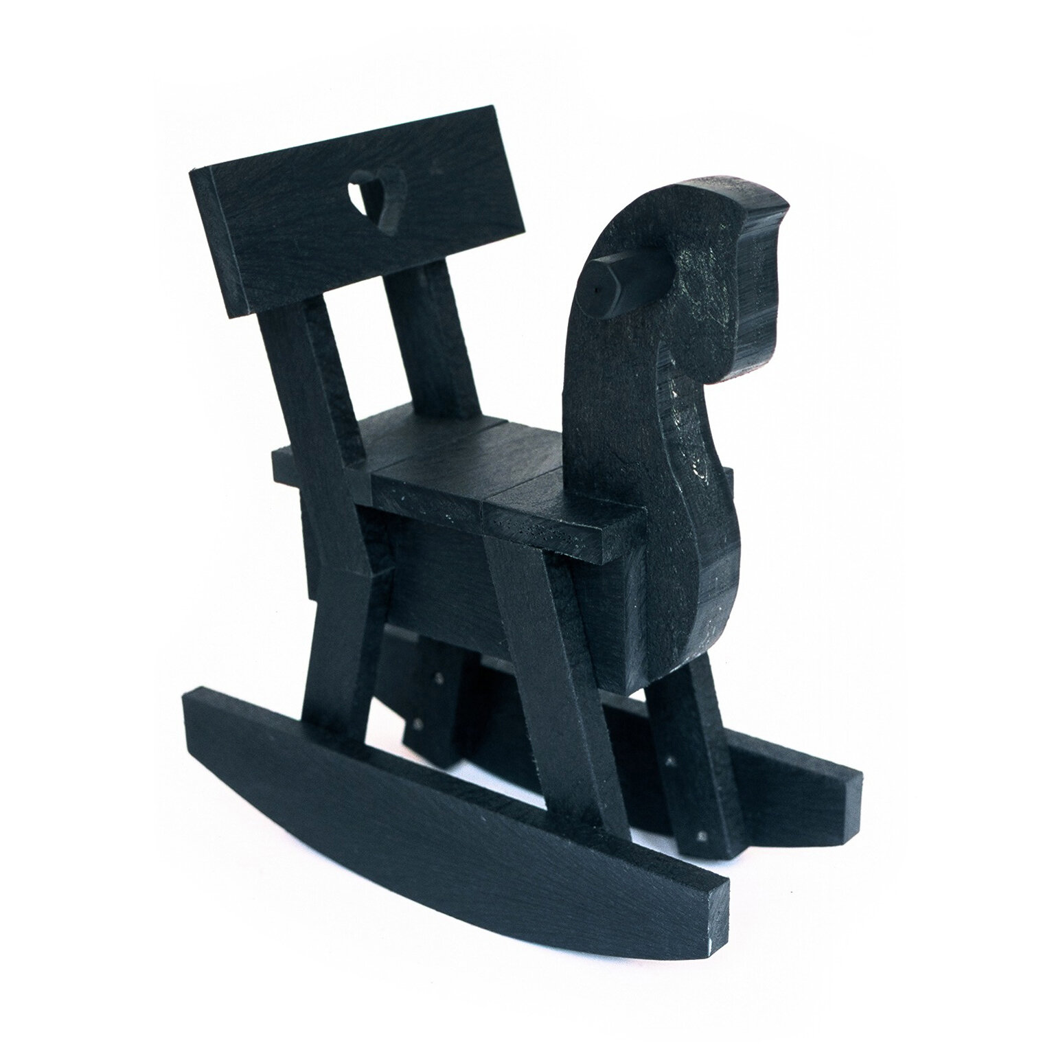INEKE HANS: HAPPY HORSE ROCKING CHAIR  From black recycled plastic, Ineke Hans designed the Black Beauties collection, including the rocking horse Happy Horse. Resistant to wind, water, salt, acid and UV light.   www.inekehans.com