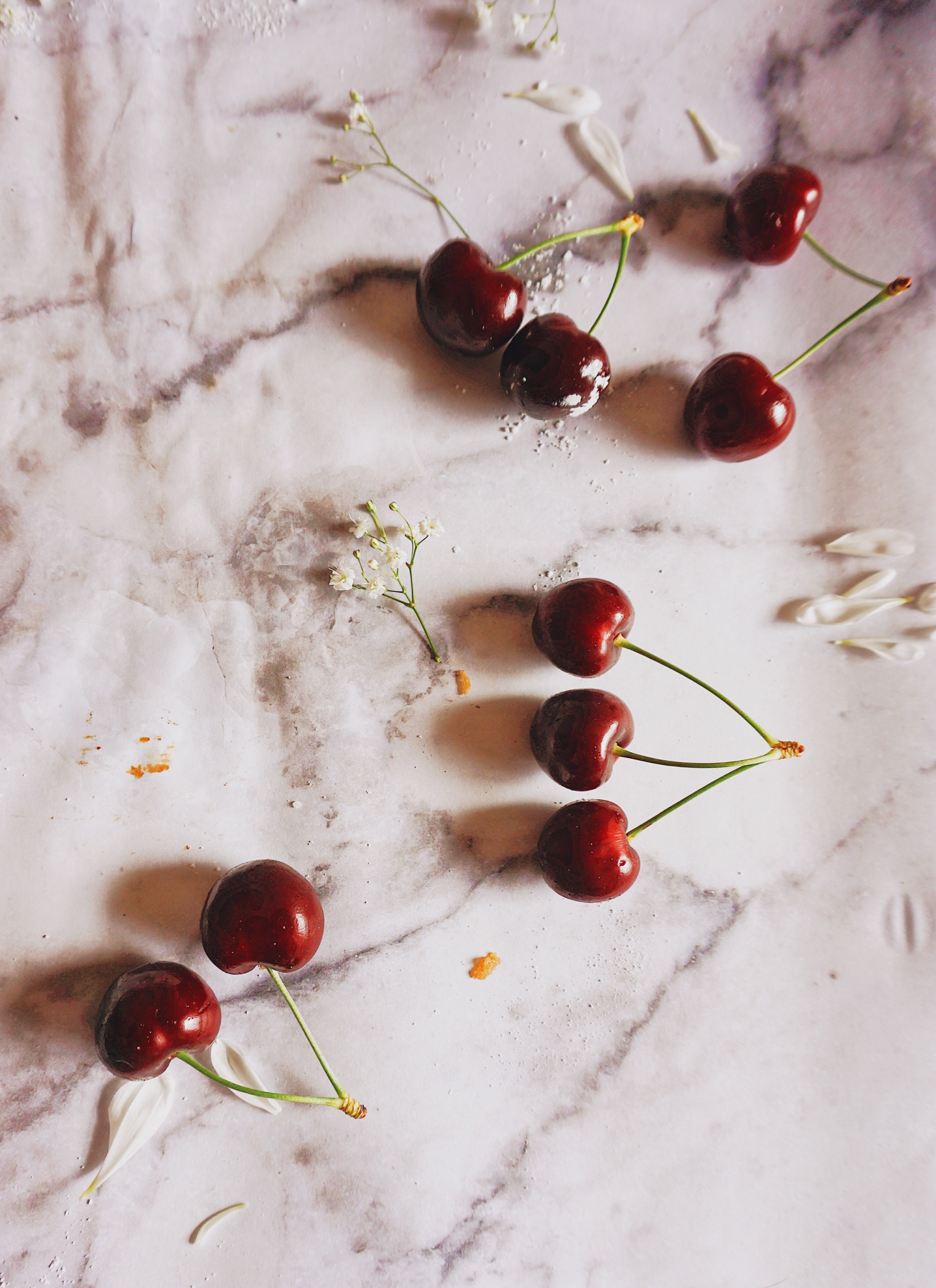 fresh red summer cherries