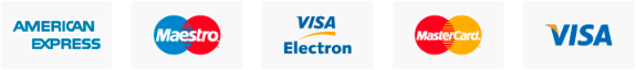 Payment methods we accept - American Express, Maestro, Visa Electron, MasterCard, Visa