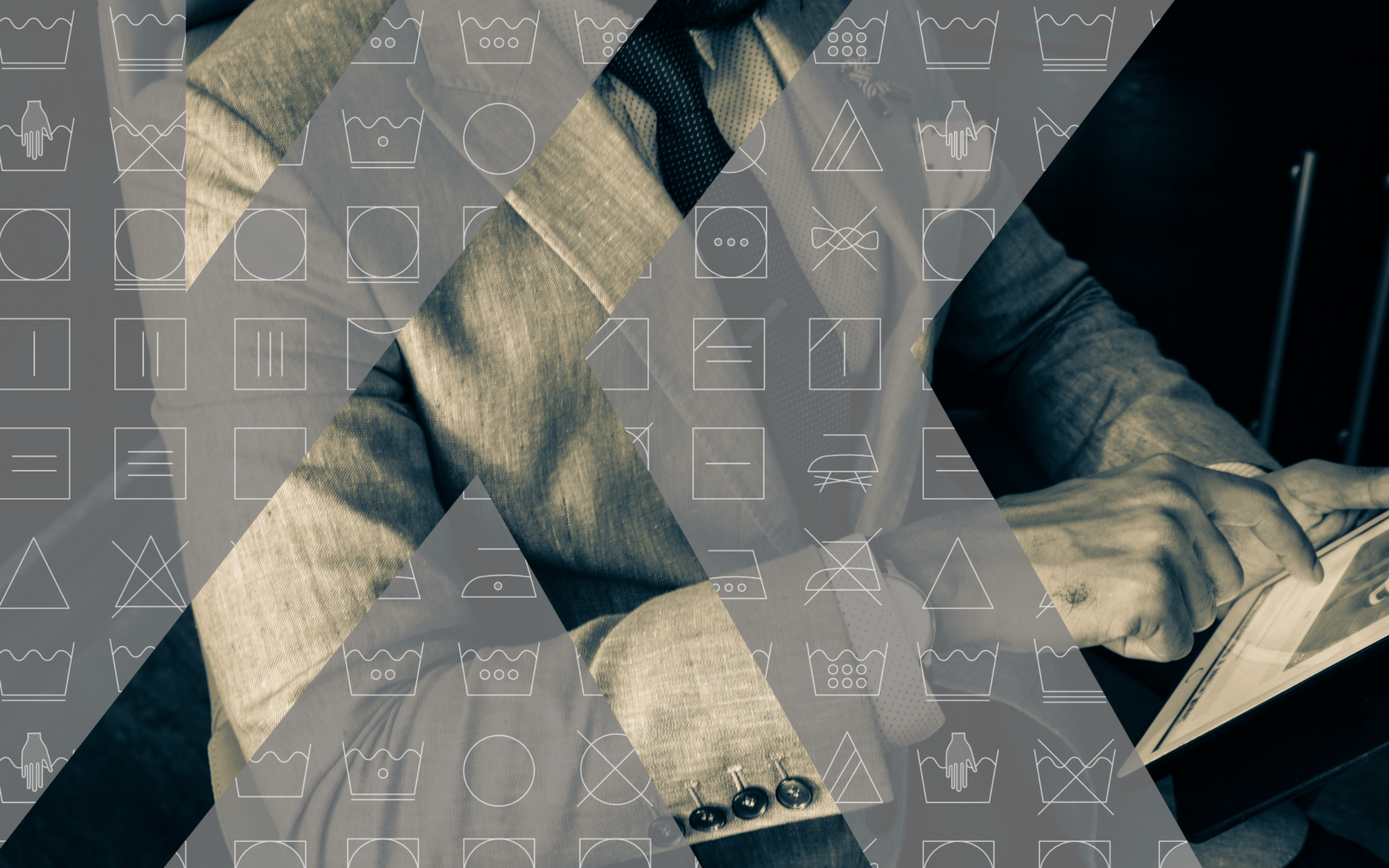 Man in a suit with an overlay of laundry symbols in grey