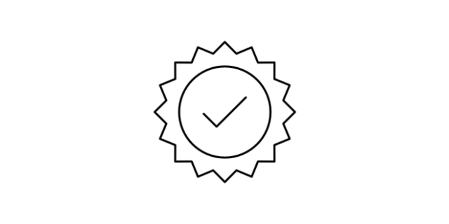 Quality icon - a rosette with a tick