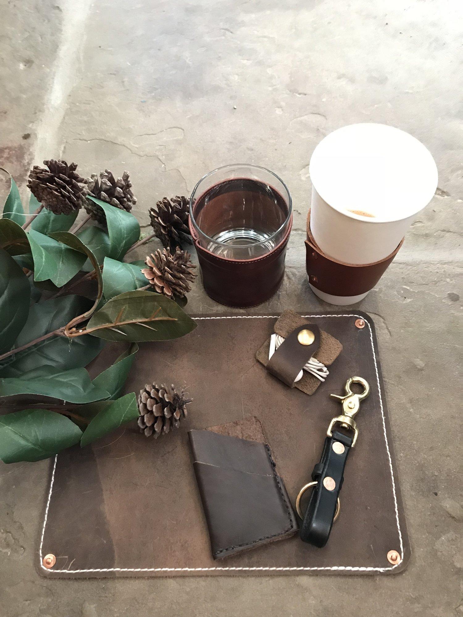 Desk+scene+-+men+bourban+glass,+coffee+sleeve,+earbud+wrap,+card+case,+keychain,mousepad.jpg
