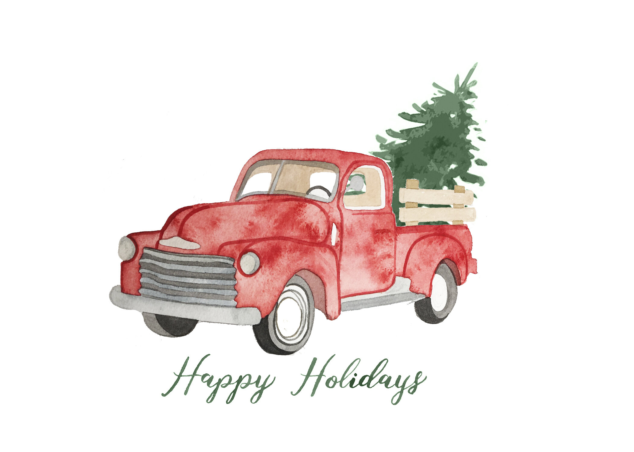 Red Truck Watercolor Christmas Card Miller Me Design Co
