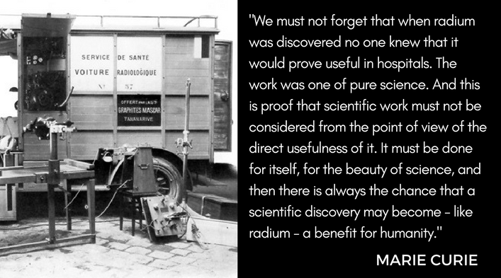 """We must not forget that when radium was discovered no one knew that it would prove useful in hospitals. The work was one of purse science. And this is proof that scientific work must not be considered from the point of view of the direct usefulness of it. It must be done for itself, for the beatify of science and then there is always the chance that a scientific discover may become - like radium - a benefit for humanity."" - Marie Curie"