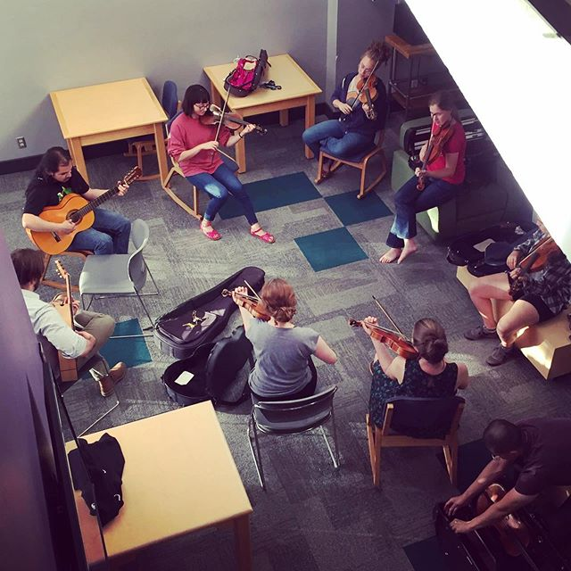 #throwbackthursday to one our first fiddle jams at Berwick Academy at @oregonbachfestival last summer. Come hear us this Monday at 1:30pm @ Beacon Hill Friends House!